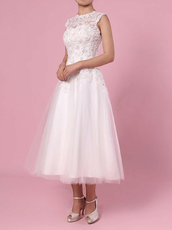 Ball Gown Scoop Neck Tea-length Tulle Beading Wedding Dresses #PDS00023274