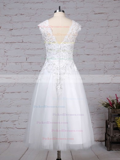 Ball Gown Scoop Neck Tea-length Tulle Beading Wedding Dresses #PDS00023274