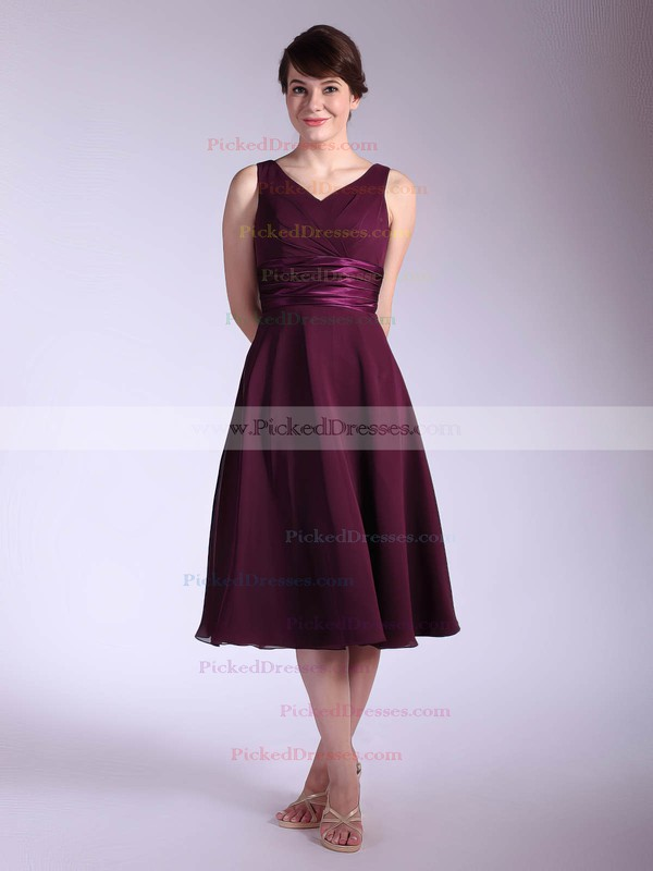 Chiffon Empire V-neck Tea-length Sashes/Ribbons Bridesmaid Dresses #PDS01012030
