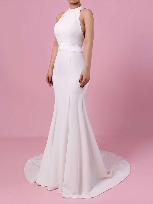 Trumpet/Mermaid High Neck Sweep Train Satin Chiffon Sashes / Ribbons Wedding Dresses #PDS00023275