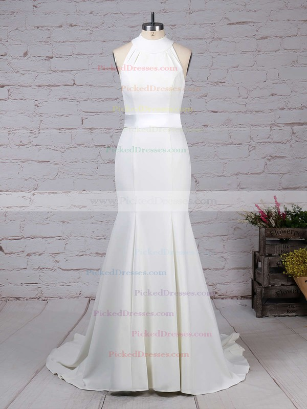 Trumpet/Mermaid High Neck Sweep Train Satin Chiffon Sashes / Ribbons Wedding Dresses #PDS00023275