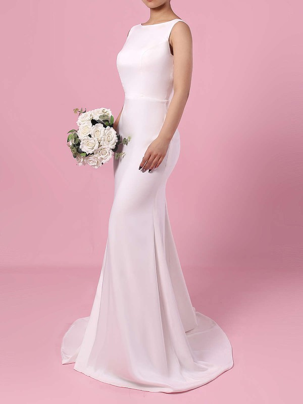 Sheath/Column Scoop Neck Sweep Train Satin Chiffon Wedding Dresses #PDS00023276