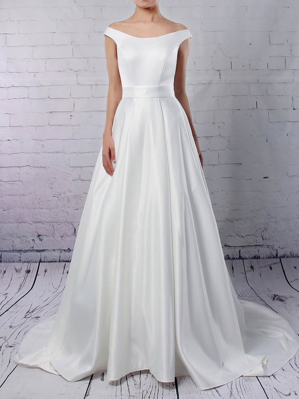 Ball Gown Off-the-shoulder Sweep Train Satin Sashes / Ribbons Wedding Dresses #PDS00023169