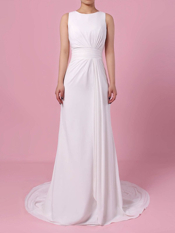 Sheath/Column Scoop Neck Sweep Train Lace Satin Chiffon Appliques Lace Wedding Dresses #PDS00023257