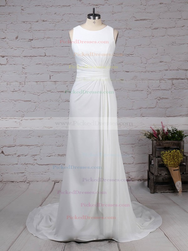 Sheath/Column Scoop Neck Sweep Train Lace Satin Chiffon Appliques Lace Wedding Dresses #PDS00023257