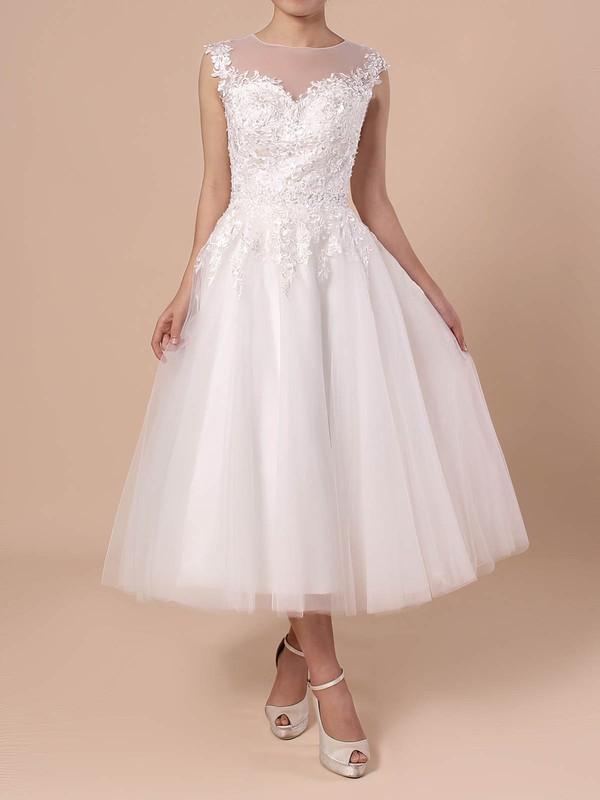 Ball Gown Scoop Neck Tea-length Tulle Beading Wedding Dresses #PDS00023268