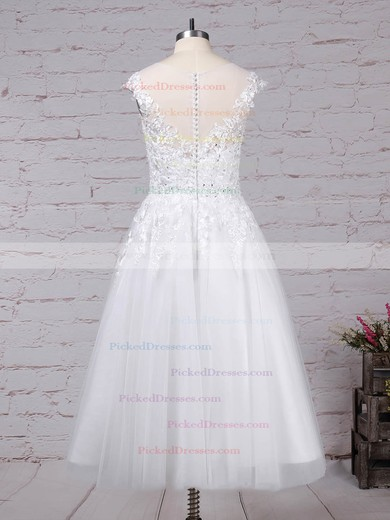 Ball Gown Scoop Neck Tea-length Tulle Beading Wedding Dresses #PDS00023268