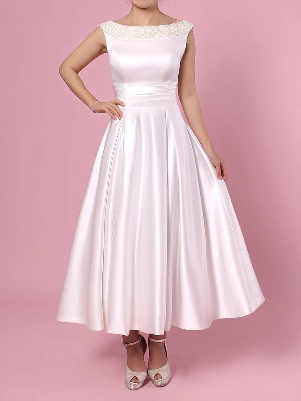 Princess Scoop Neck Tea-length Satin Bow Wedding Dresses #PDS00023269