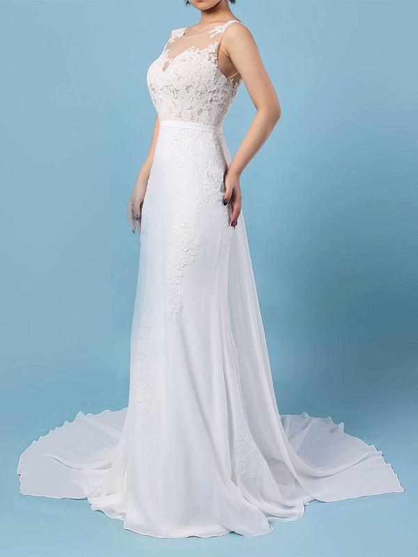 Trumpet/Mermaid Scoop Neck Watteau Train Chiffon Appliques Lace Wedding Dresses #PDS00023156