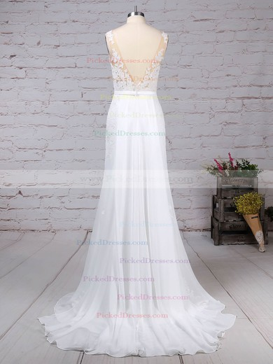 Trumpet/Mermaid Scoop Neck Watteau Train Chiffon Appliques Lace Wedding Dresses #PDS00023156