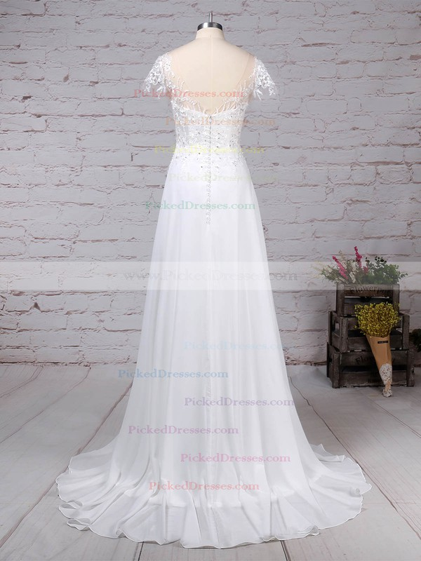 Ball Gown Scoop Neck Sweep Train Satin Tulle Appliques Lace Wedding Dresses #PDS00023170