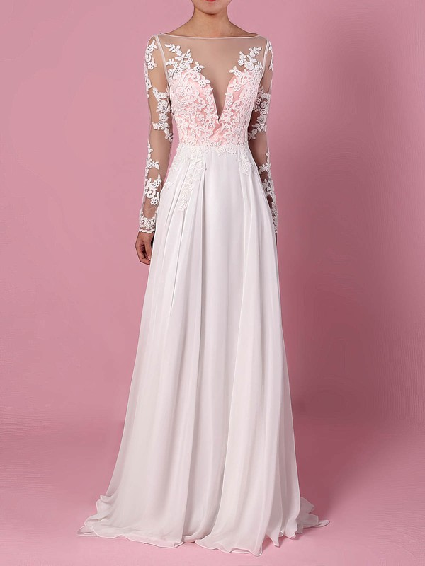 A-line Scoop Neck Sweep Train Chiffon Tulle Appliques Lace Wedding Dresses #PDS00023209