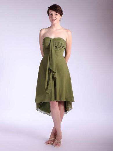 Chiffon A-line Strapless Asymmetrical Pleats Bridesmaid Dresses #PDS01012031