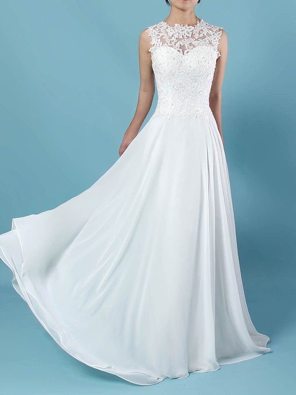 A-line Scoop Neck Floor-length Chiffon Tulle Appliques Lace Wedding Dresses #PDS00023305