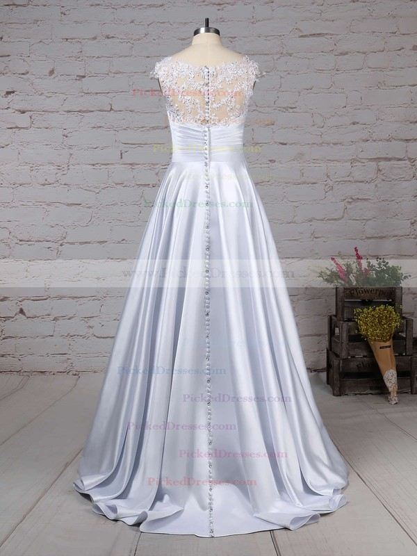 Ball Gown Scoop Neck Floor-length Satin Tulle Appliques Lace Wedding Dresses #PDS00023313