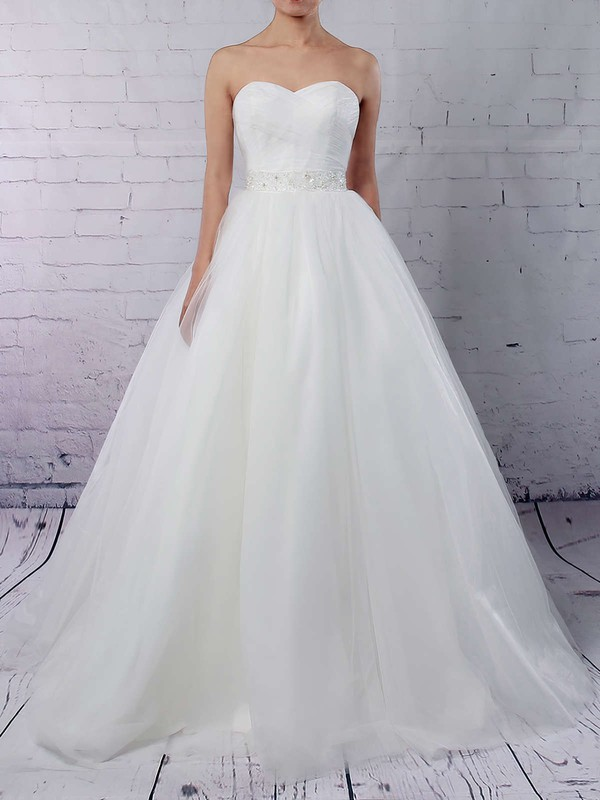 Ball Gown Sweetheart Sweep Train Tulle Sashes / Ribbons Wedding Dresses #PDS00023153
