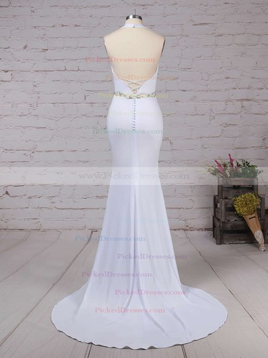 Trumpet/Mermaid Halter Sweep Train Satin Chiffon Sashes / Ribbons Wedding Dresses #PDS00023155