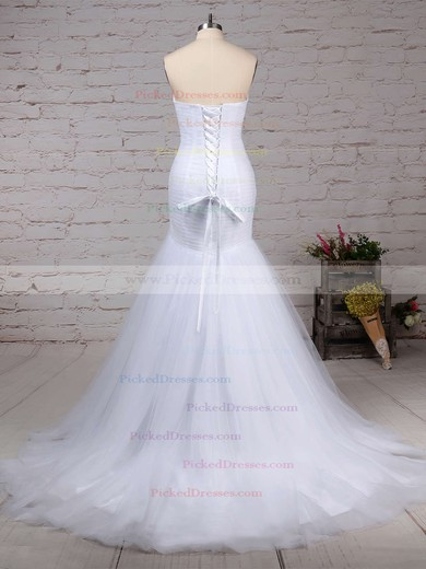 Trumpet/Mermaid Sweetheart Sweep Train Tulle Ruched Wedding Dresses #PDS00023219