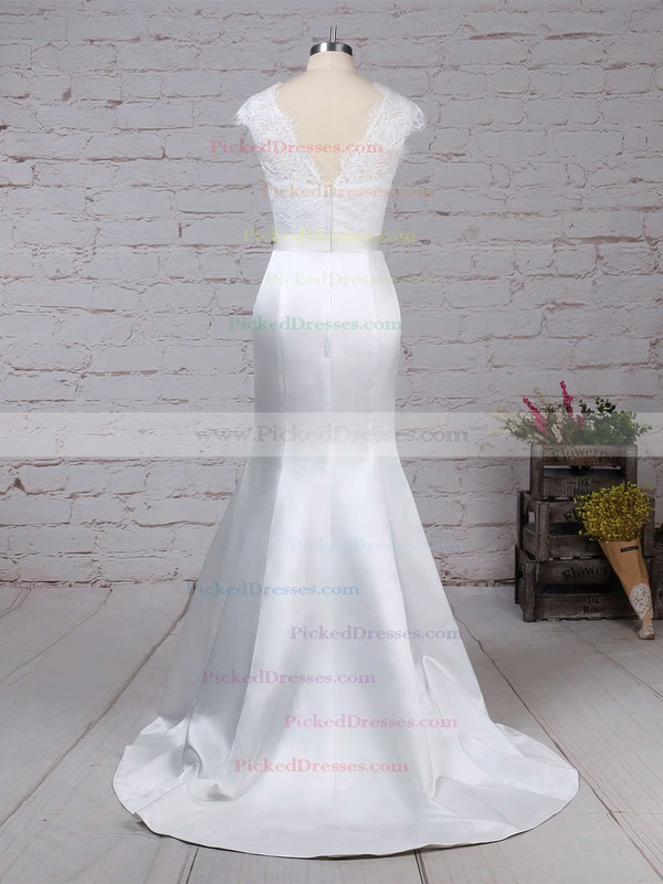Trumpet/Mermaid Scoop Neck Sweep Train Lace Satin Beading Wedding Dresses #PDS00023227