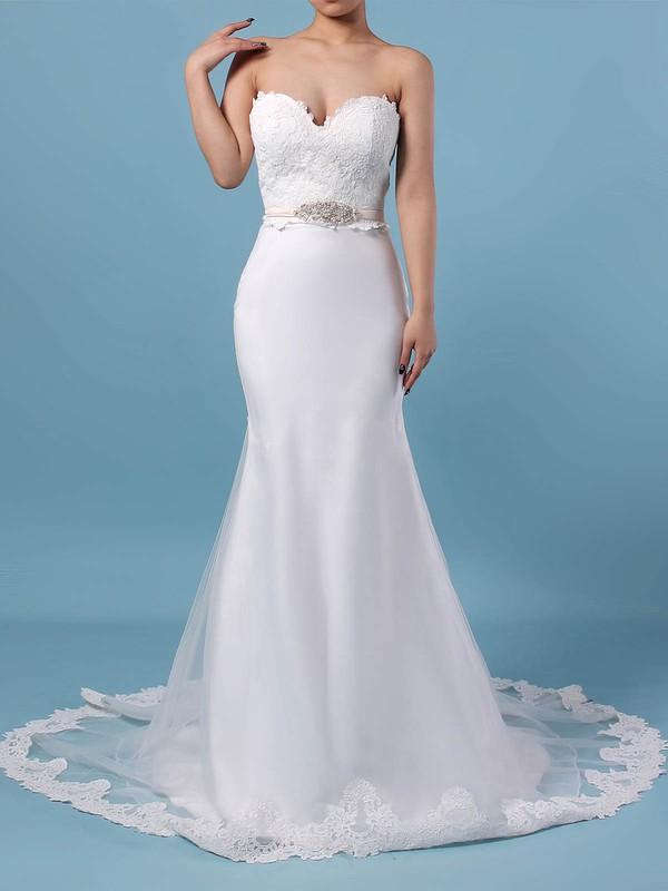 Trumpet/Mermaid V-neck Sweep Train Lace Organza Appliques Lace Wedding Dresses #PDS00023228