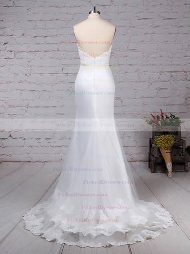 Trumpet/Mermaid V-neck Sweep Train Lace Organza Appliques Lace Wedding Dresses #PDS00023228