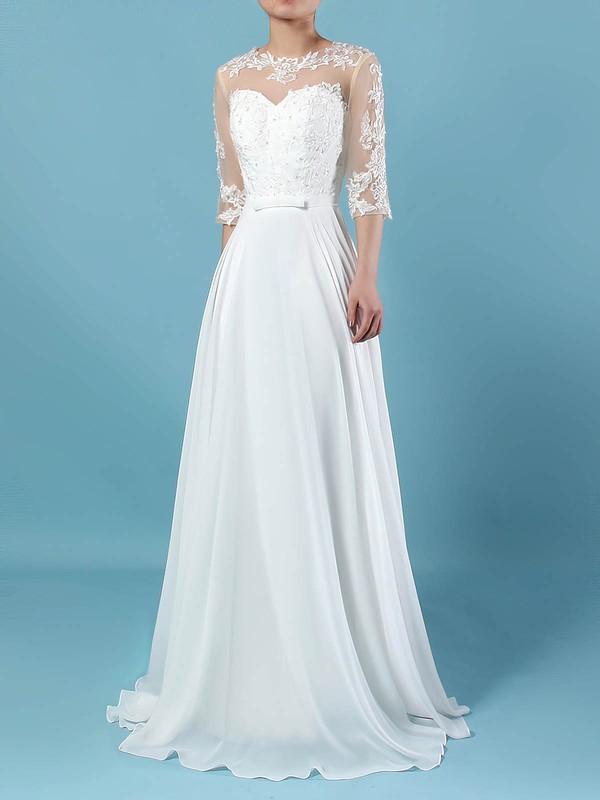A-line Scoop Neck Floor-length Chiffon Tulle Appliques Lace Wedding Dresses #PDS00023279
