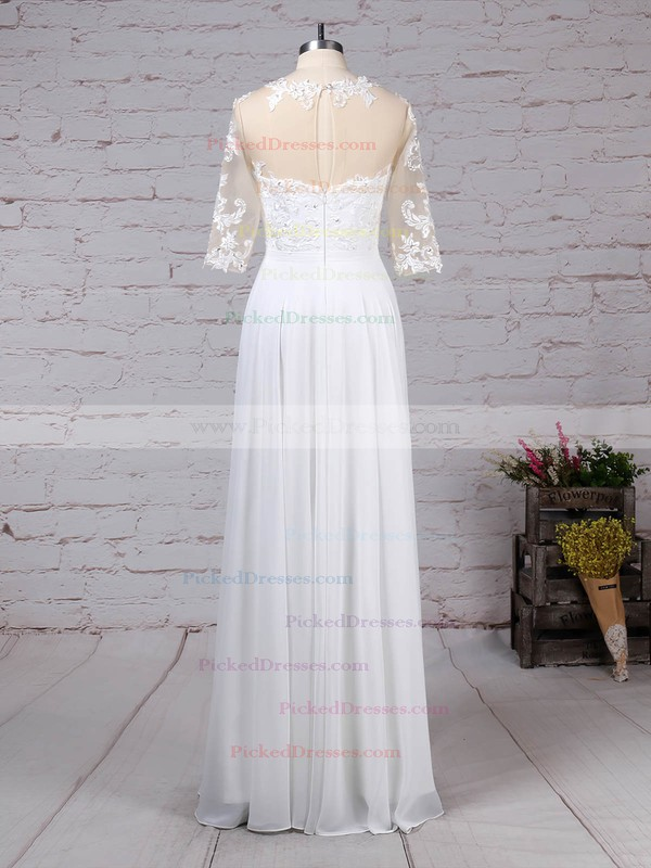 A-line Scoop Neck Floor-length Chiffon Tulle Appliques Lace Wedding Dresses #PDS00023279