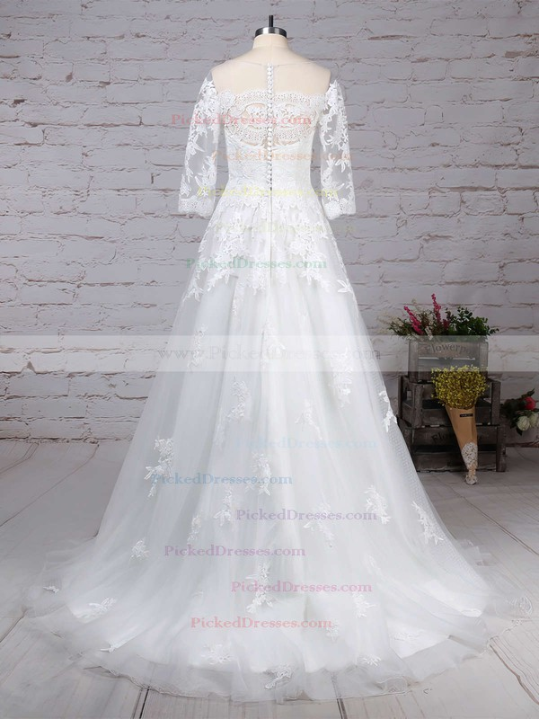 Princess Scoop Neck Sweep Train Tulle Appliques Lace Wedding Dresses #PDS00023162