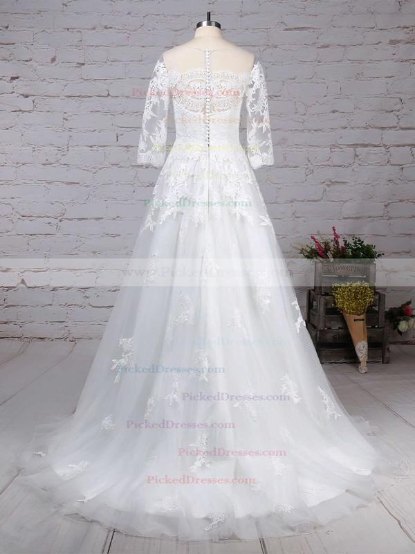 Princess Scoop Neck Sweep Train Tulle Appliques Lace Wedding Dresses #PDS00023162