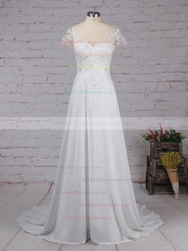 A-line Scoop Neck Sweep Train Chiffon Tulle Beading Wedding Dresses #PDS00023165