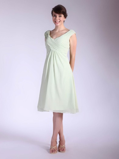 Chiffon A-line V-neck Tea-length Pleats Bridesmaid Dresses #PDS01012032