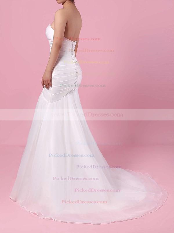 Trumpet/Mermaid Sweetheart Sweep Train Tulle Ruffles Wedding Dresses #PDS00023218