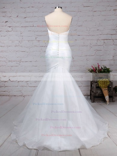 Trumpet/Mermaid Sweetheart Sweep Train Tulle Ruffles Wedding Dresses #PDS00023218