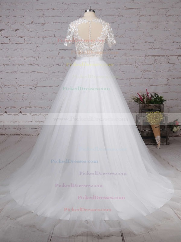 Ball Gown Scoop Neck Sweep Train Tulle Appliques Lace Wedding Dresses #PDS00023225