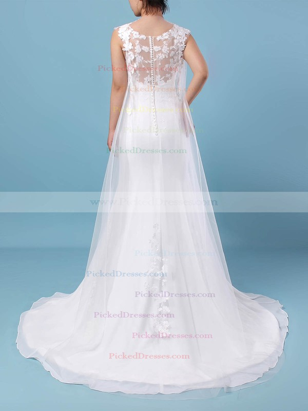 Trumpet/Mermaid Scoop Neck Sweep Train Tulle Chiffon Appliques Lace Wedding Dresses #PDS00023231
