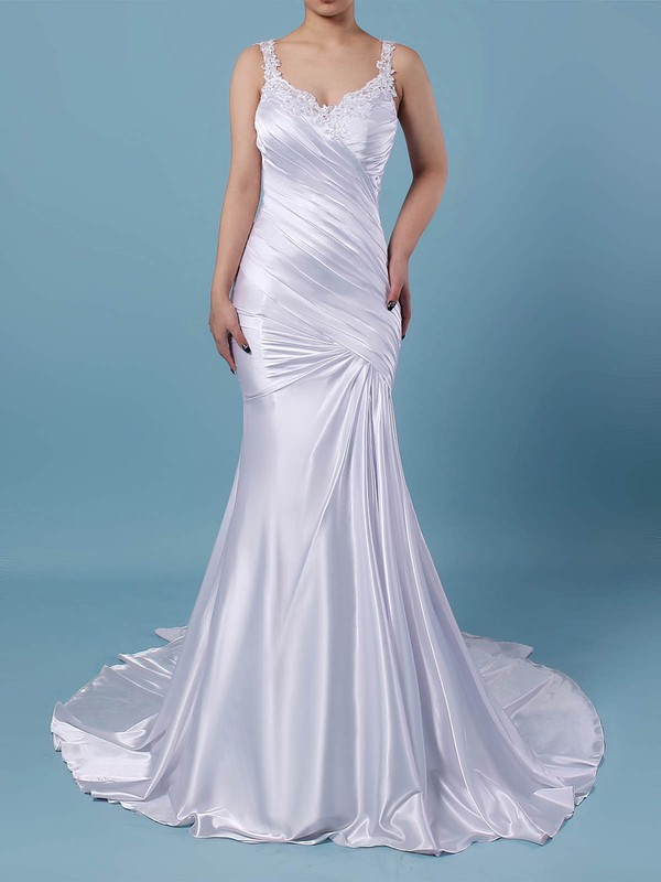 Trumpet/Mermaid V-neck Sweep Train Tulle Silk-like Satin Beading Wedding Dresses #PDS00023242