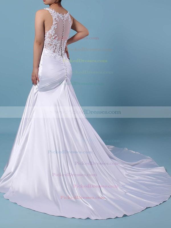 Trumpet/Mermaid V-neck Sweep Train Tulle Silk-like Satin Beading Wedding Dresses #PDS00023242