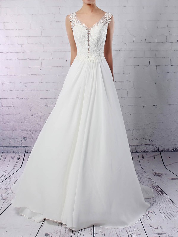 Princess V-neck Court Train Chiffon Tulle Beading Wedding Dresses #PDS00023244
