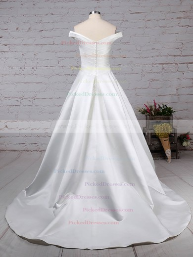 Ball Gown Off-the-shoulder Sweep Train Satin Ruffles Wedding Dresses #PDS00023252