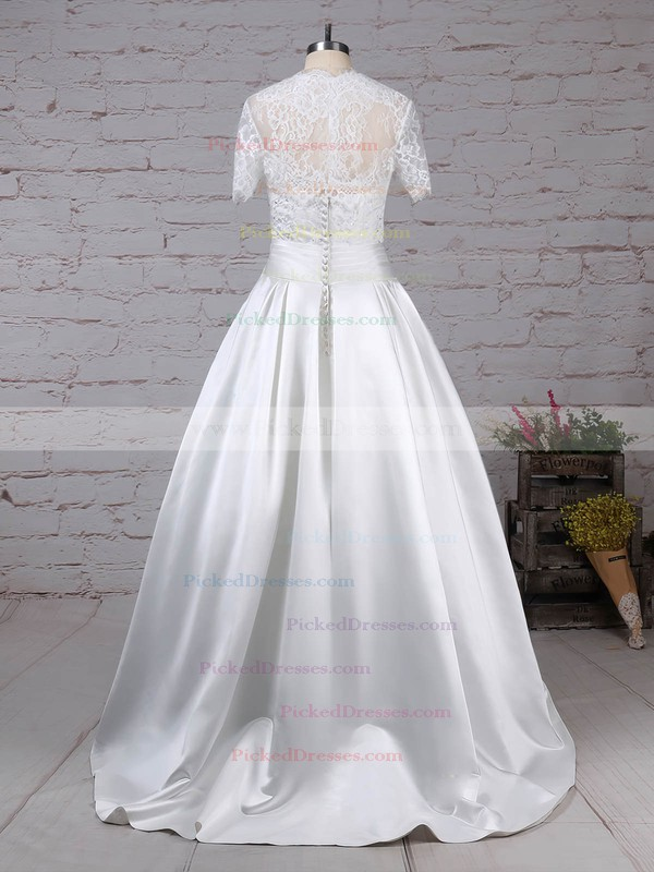 Ball Gown Sweetheart Floor-length Lace Satin Bow Wedding Dresses #PDS00023256