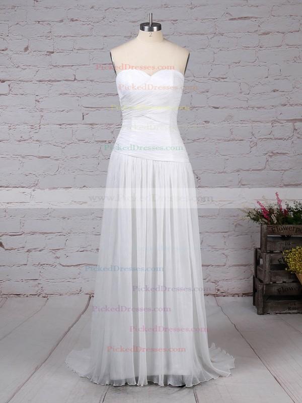 A-line Sweetheart Sweep Train Chiffon Beading Wedding Dresses #PDS00023260