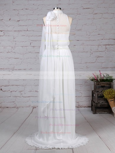 A-line Sweetheart Sweep Train Chiffon Beading Wedding Dresses #PDS00023260