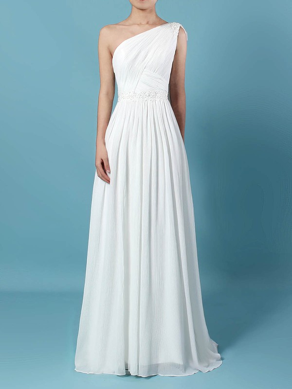 Empire One Shoulder Sweep Train Chiffon Beading Wedding Dresses #PDS00023261