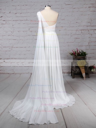 Empire One Shoulder Sweep Train Chiffon Beading Wedding Dresses #PDS00023261