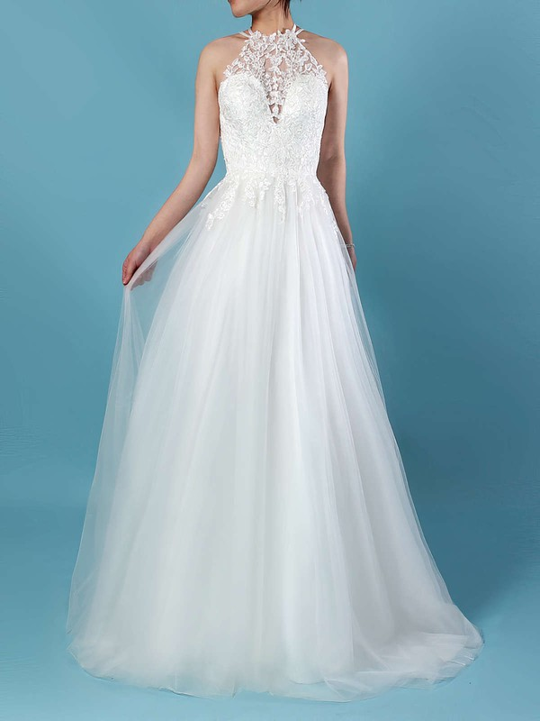 A-line Scoop Neck Sweep Train Tulle Appliques Lace Wedding Dresses #PDS00023266