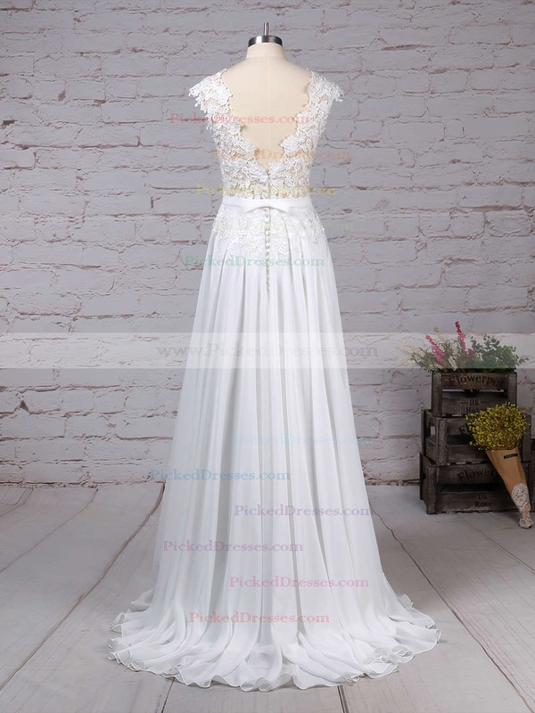 A-line Scoop Neck Sweep Train Lace Chiffon Sashes / Ribbons Wedding Dresses #PDS00023294