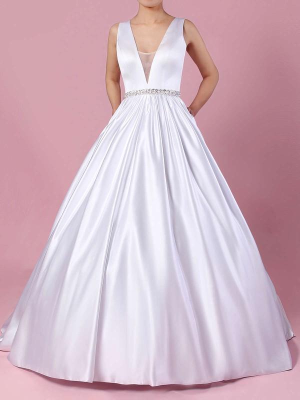 Ball Gown V-neck Court Train Satin Beading Wedding Dresses #PDS00023311