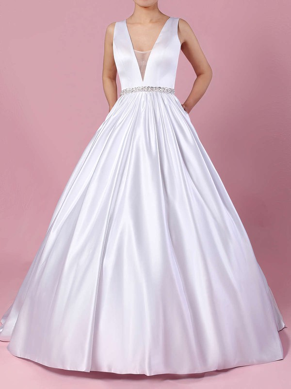 Ball Gown V-neck Court Train Satin Beading Wedding Dresses #PDS00023311