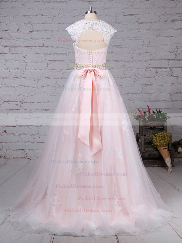 Ball Gown Sweetheart Sweep Train Tulle Appliques Lace Wedding Dresses #PDS00023176