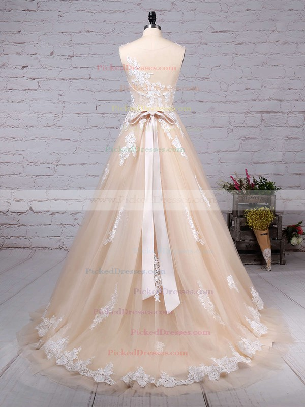 Ball Gown Scoop Neck Sweep Train Tulle Beading Wedding Dresses #PDS00023186